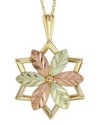 10 K TRI-COLOR BLACK HILLS GOLD STAR PENDANT WITH 12 K ROSE & GREEN GOLD LEAVES AND 18