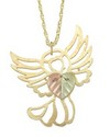 10 K TRI-COLOR BLACK HILLS GOLD ANGEL PENDANT WITH 12 K ROSE & GREEN GOLD LEAVES AND 18